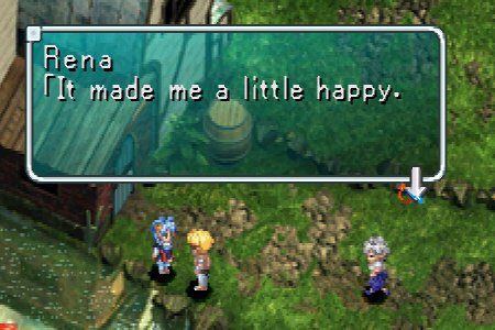 [Rena: It made me a little happy.  From Star Ocean: The Second Story (Playstation)]