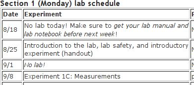 A bit of the lab schedule