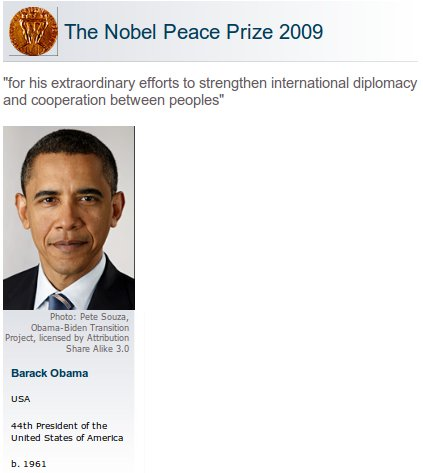 barack obama peace prize winner