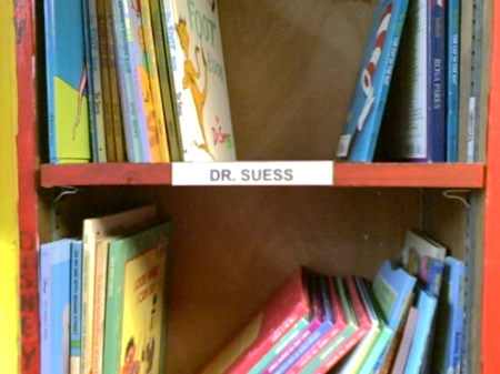 Dr. Suess books.  I wonder if I can find <i>Geern Egsg nad Hma</i>?